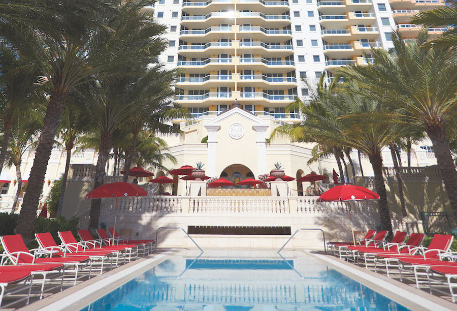 View of Acqualina's Opulent, olympic-style swimming pool.