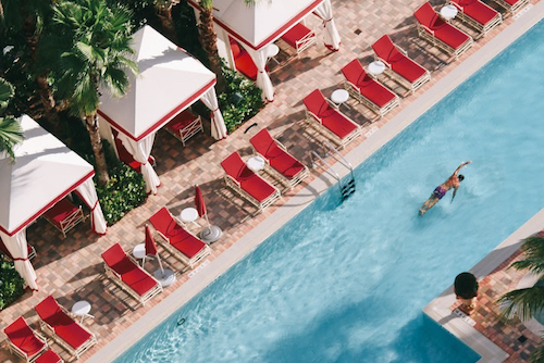 Swimmer in a lap pool at Acqualina Resort & Spa on the Beach.