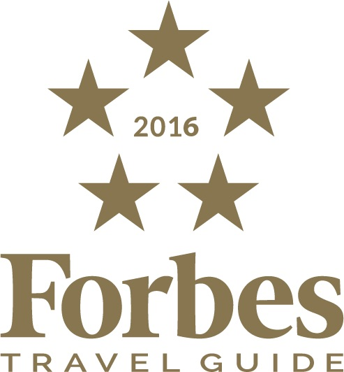 The logo for the 2016 Forbes Travel Guide Five Star Award.