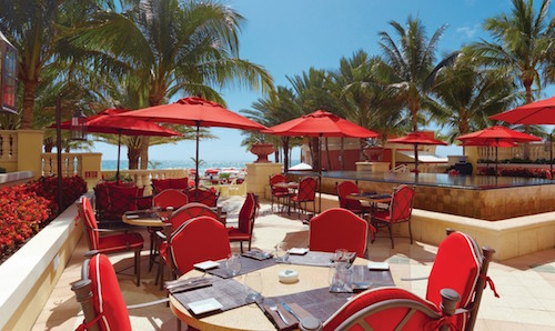A photo of the outside dining area at the Acqualina Resort & Spa on the Beach.