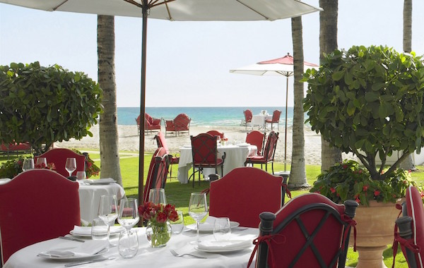 This is a photo of the outdoor seating area at the Costa Grille at the Acqualina Resort & Spa on the Beach.