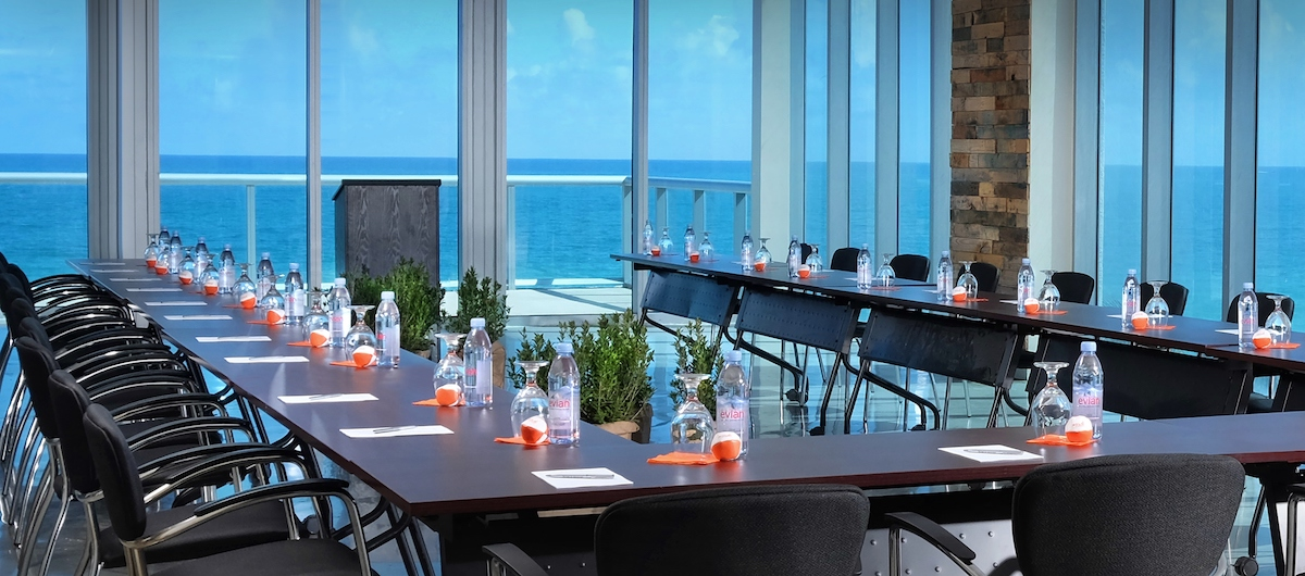 Sole on the Ocean meeting space with table set up