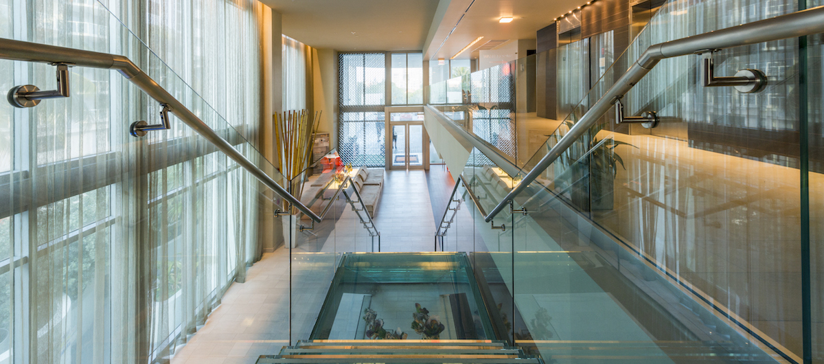 Sole on the Ocean lobby with glass staircase