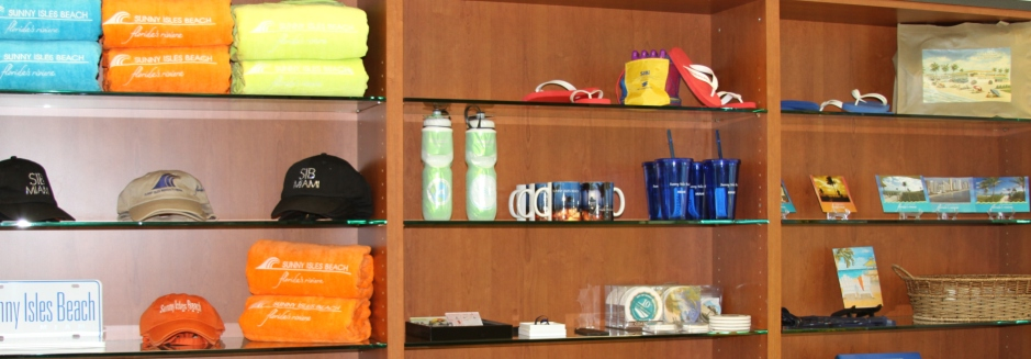 Photo of the merchandise in the visitor center located in the Sunny Isles Beach Government Center.