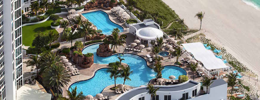 An aerial photo of the pool at the Trump International Beach Resort.