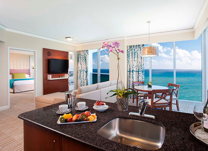 Bright and beautiful Suite interior at the Trump International Beach Resort