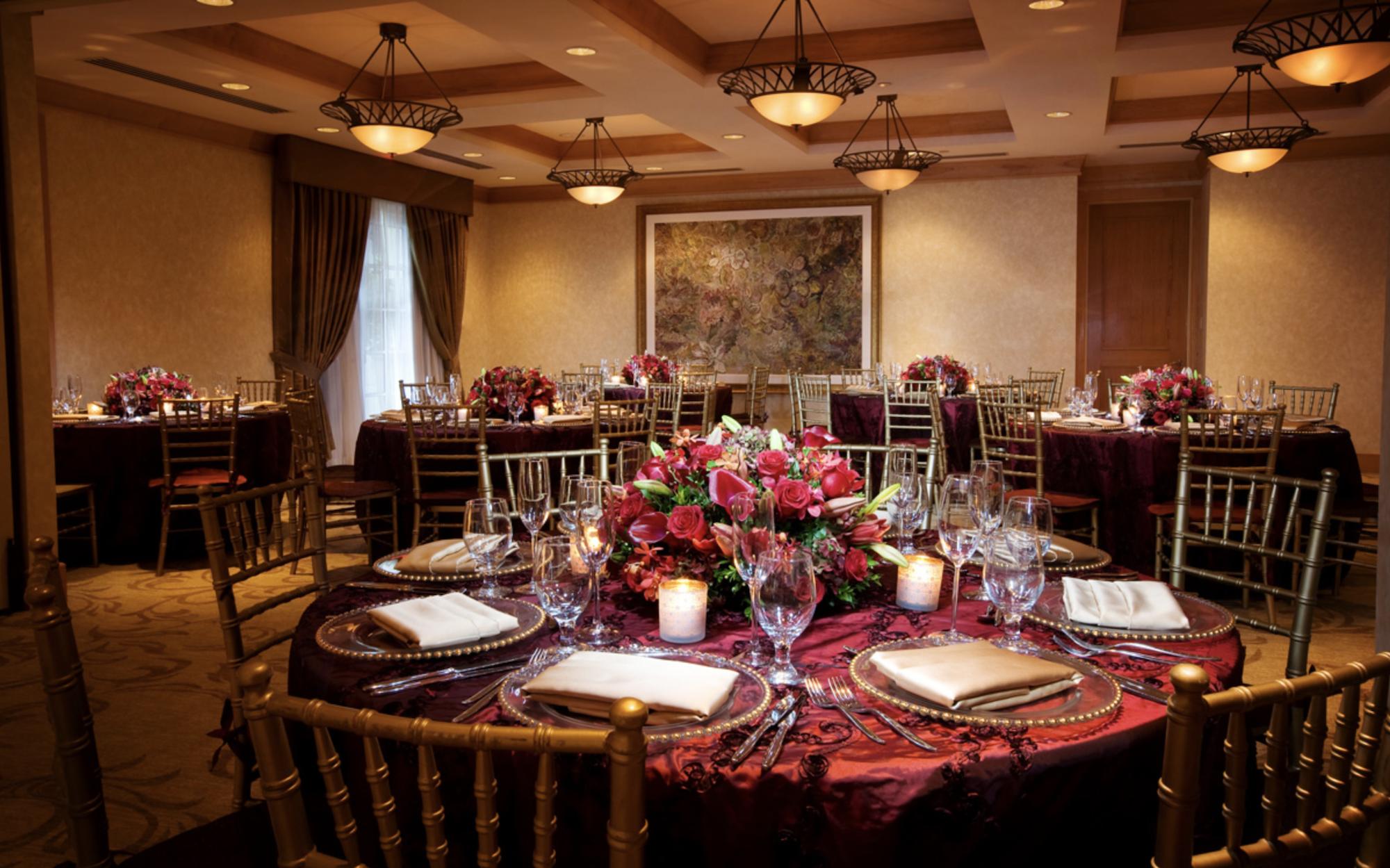 Dinner setting at the Acqualina Resort & Spa Mediterranean Room