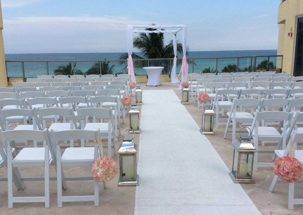 Outdoor wedding set up overlooking the ocean.