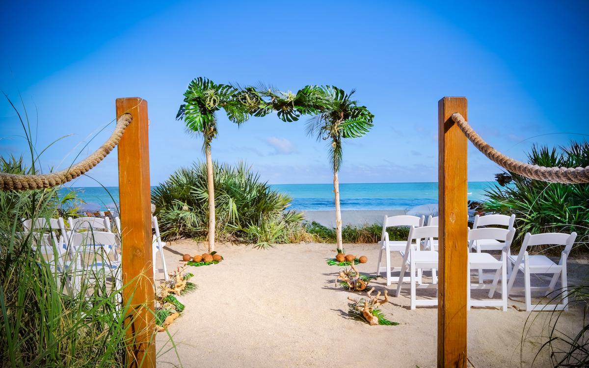 Outdoor wedding on the beach.