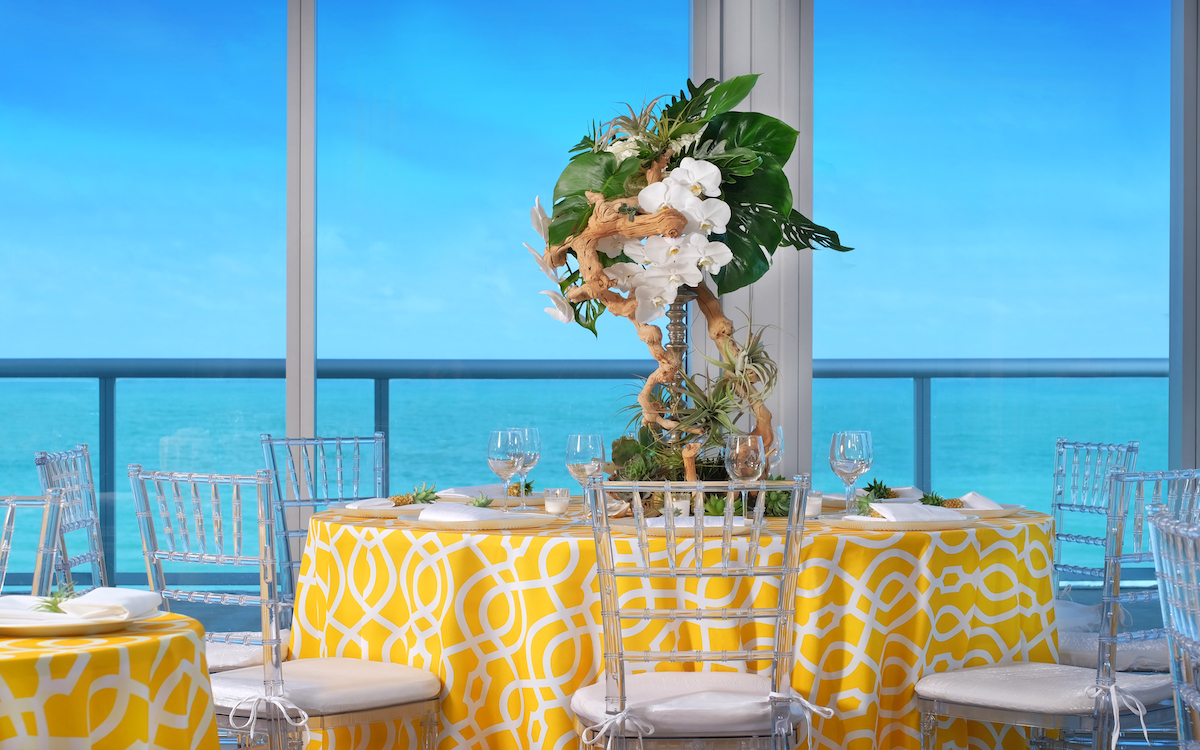 Sole on the Ocean wedding reception room overlooking the ocean.
