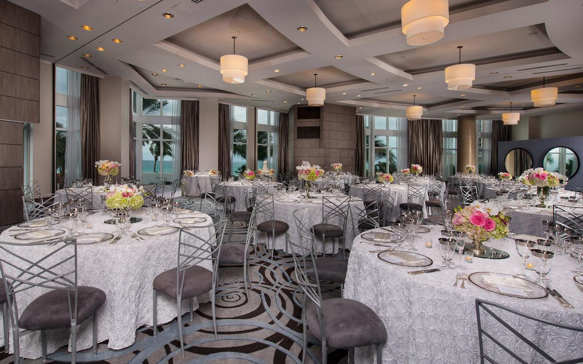 Wedding reception room setting at the Trump