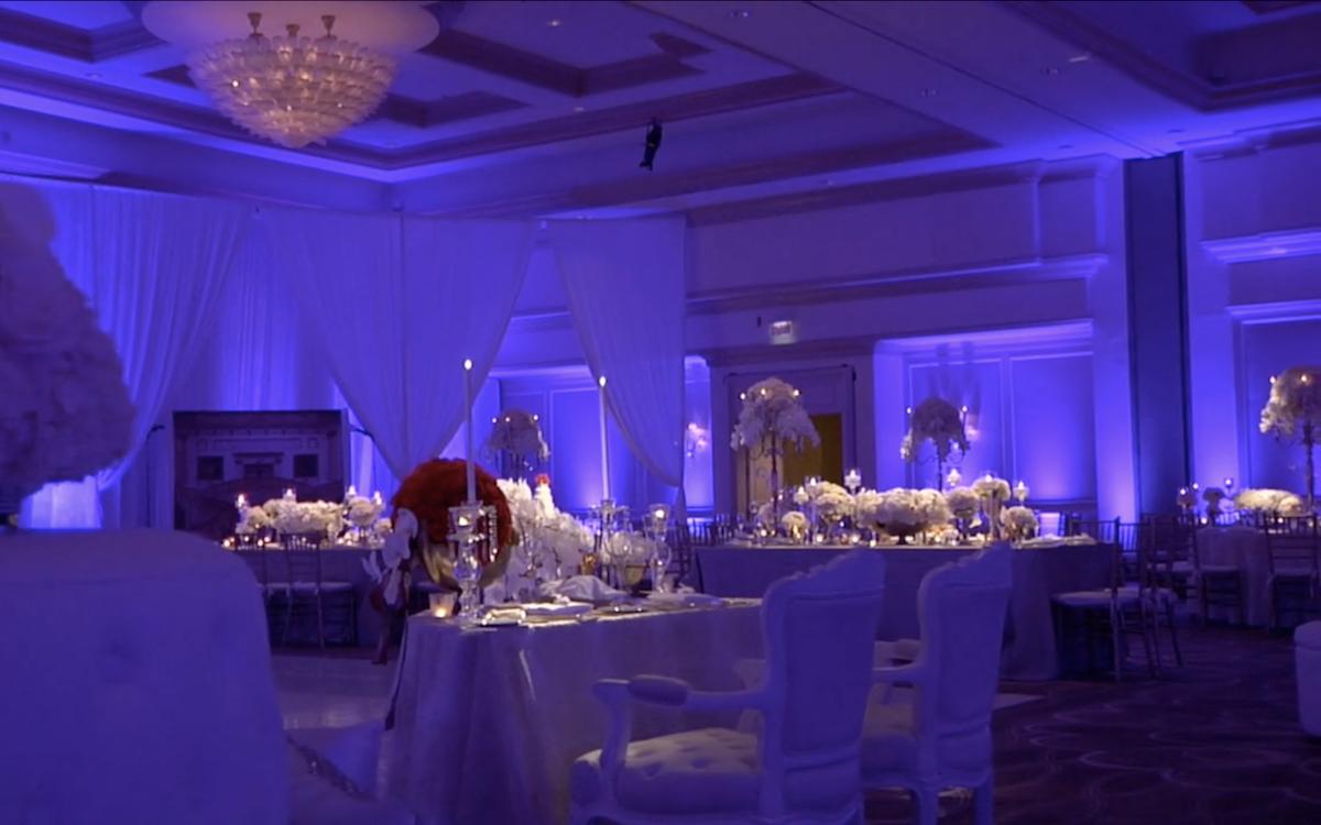 Dimly lit reception room