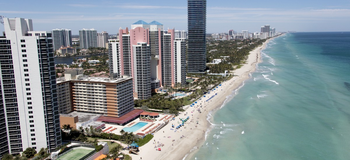 Aerial view of Sunny Isles Beach coastline.