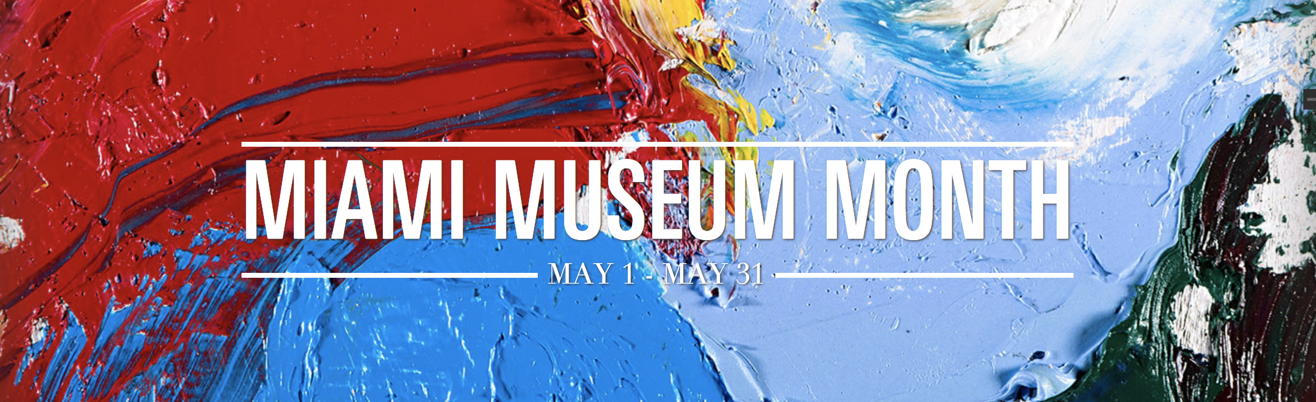 Paint splash background that says Miami Museum Month text on top.