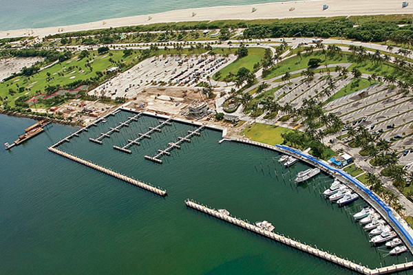 Aerial view of Haulover Park marina.