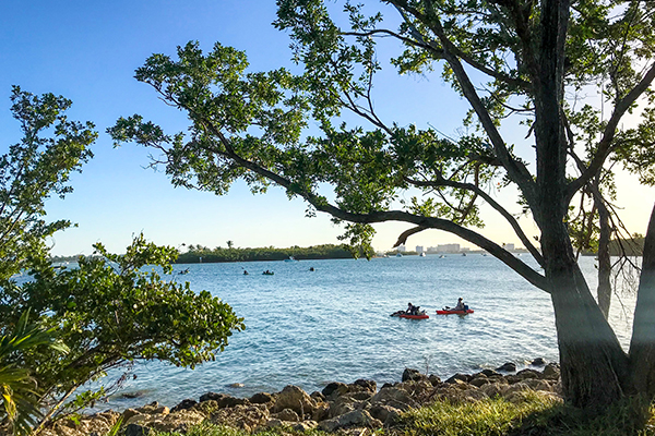 2 kayakers on the water at Oleta River State Park