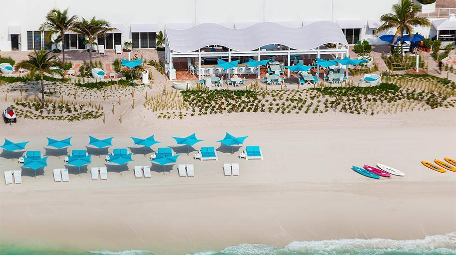 Aerial view of the beach and cabana at the Trump International Beach Resort