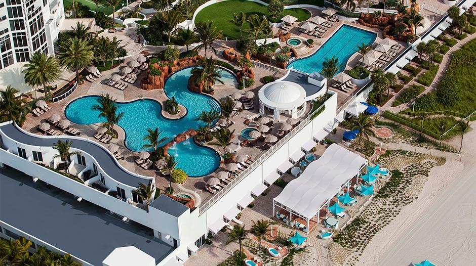 Aerial view of Trump pool area