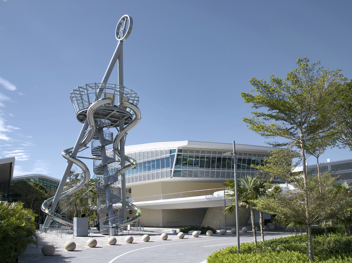 Aventura Mall exterior and the new art slide