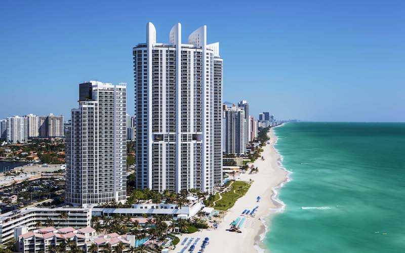 View of the Trump International Beach Resort and Sunny Isles Beach coastline.