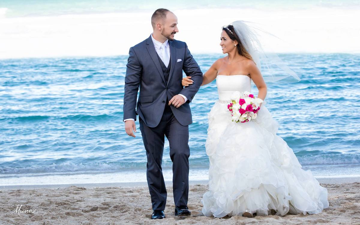Couple on the Beach after Doubletree wedding