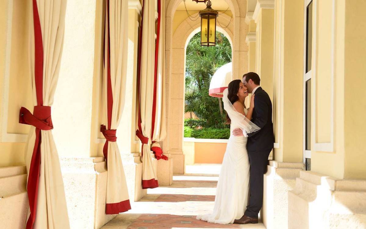 Couple embracing after wedding