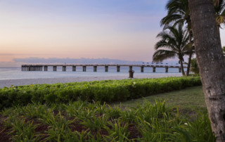 Wide view of the Newport Fishing Pier at dawn with a pink sky