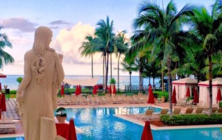 Statue of Grecian Lady overlooking Pool at Acqualina Resort & Spa
