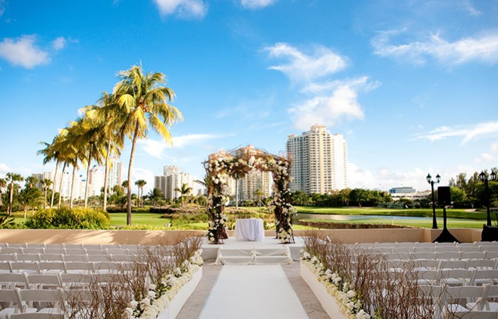 Chic outdoor wedding setting at Turnberry Isle Miami