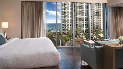 Hotel room with view of ocean at Residence Inn Miami Sunny Isles Beach