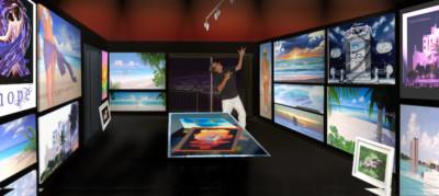 Artist Rich Rokosz posing in a room of his artwork.