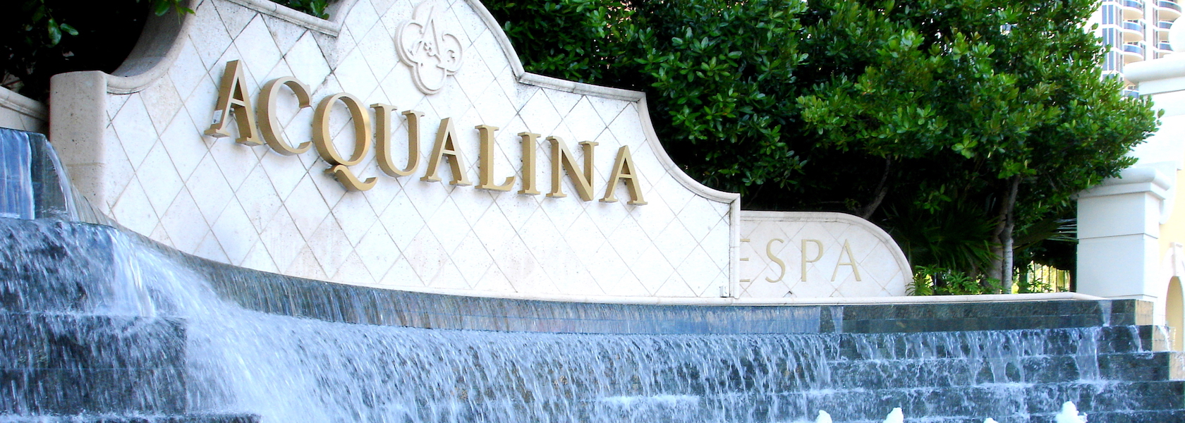 Granite signage with Acqualina on it