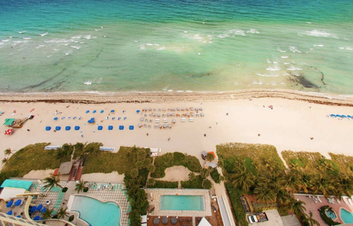Aerial view of pool and ocean at Solé Miami