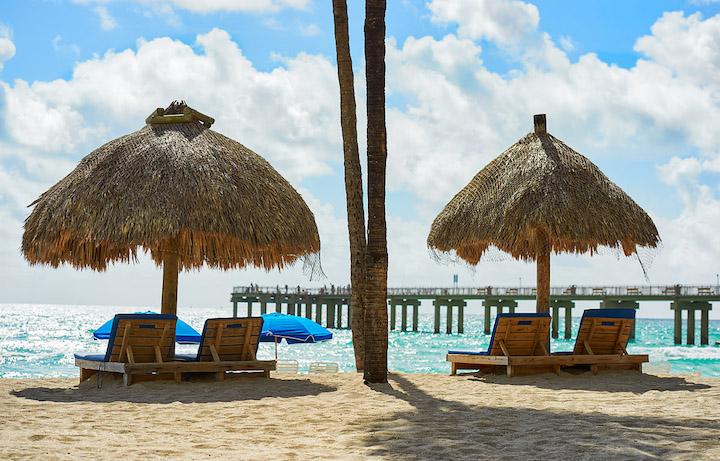 Two beach lounge chairs