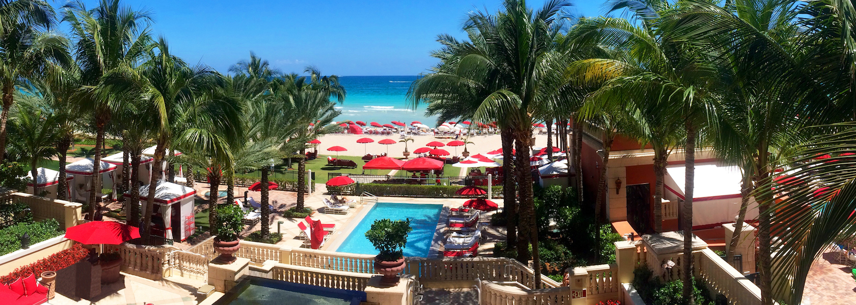 View of the pool at Acqualina next to the Ocean