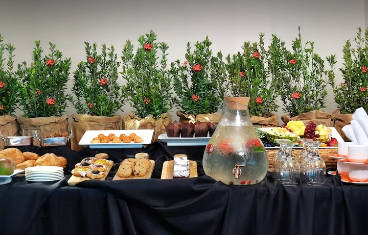 Breakfast spread on table at Sole Miami