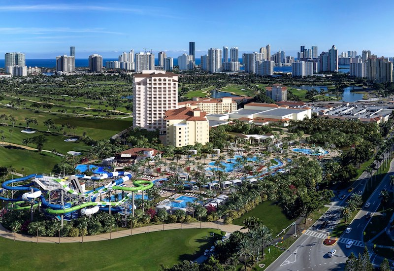 Aerial view of Tidal Cove water park at JW Marriott Turnberry Isle Miami
