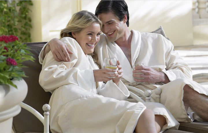 Couple in robes enjoying Acqualina Spa