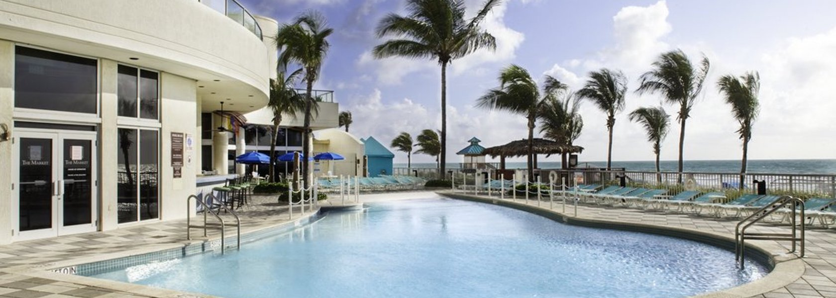 Pool right next to the Doubletree Ocean Point Resort overlooking the ocean.