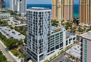 Aerial view of the Residence Inn Miami Sunny Isles Beach Hotel on Collins Avenue