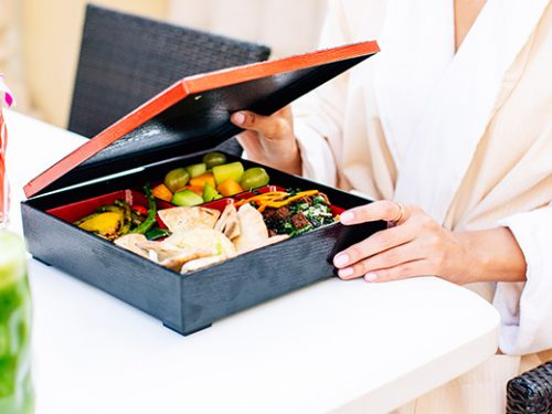 Bento box food at Acqualina Spa