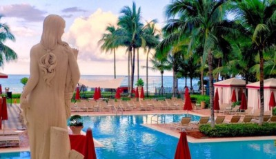 Acqualina Grecian Lady overlooking the pool