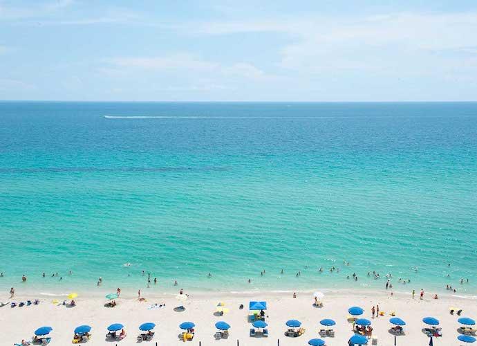 ocean and beach-goers