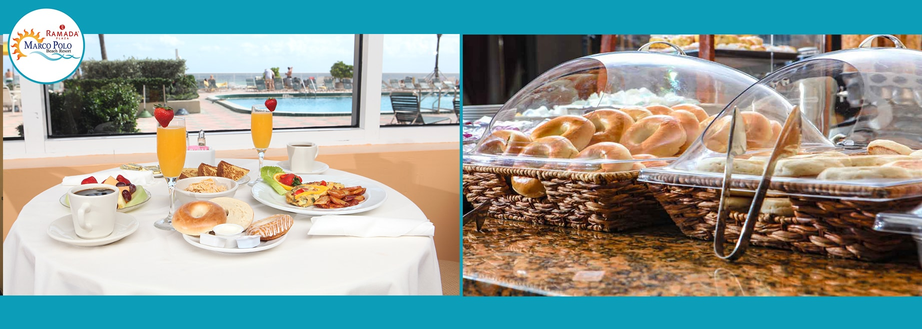 Split view of breakfast food items at the Marco Polo Beach Resort
