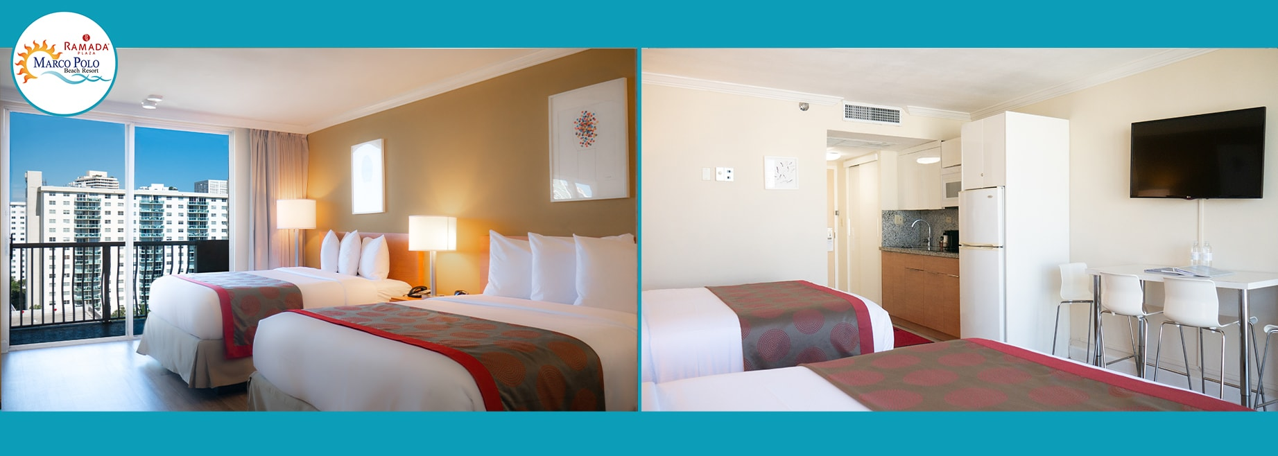 Split view of suite at Marco Polo Beach Resort