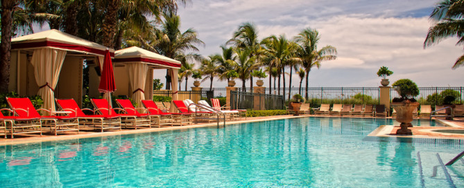 Infinity Pool and loungers at Acqualina Resort & Residences