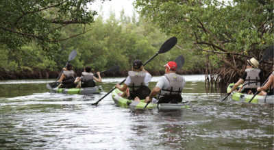 Retreat participants kayaking at Oleta River State Park