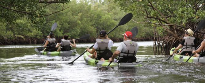 Retreat participants kayaking at Oleta River State Park