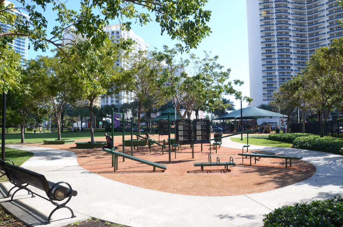 Playground and workout area at Town Center Park.