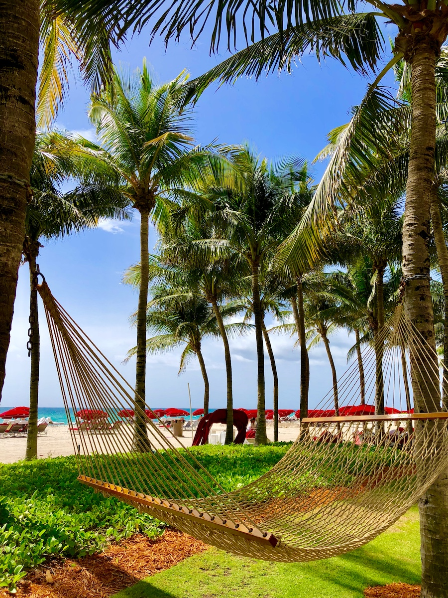 Hammock hanging from trees next to the beach with red umbrellas in the background.